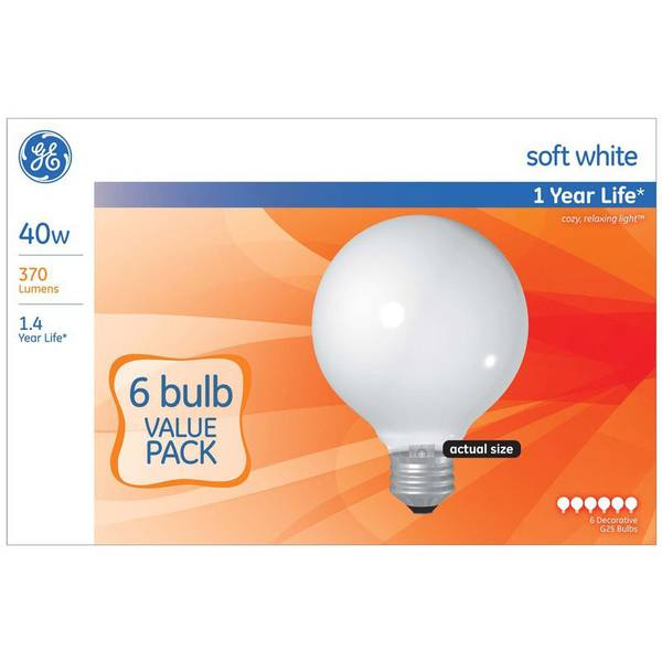 6pk 40W G25 Soft White Bulbs