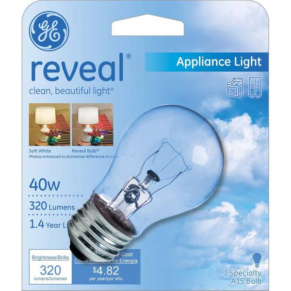 40W A15 GE Reveal Appliance Bulb