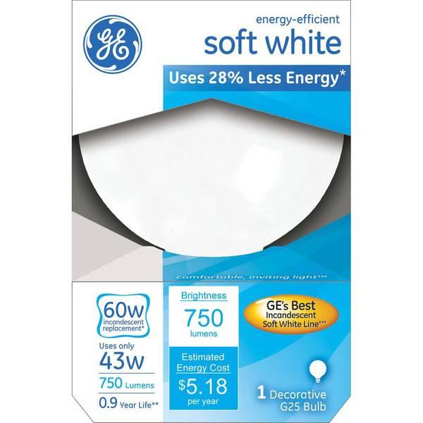 43W G25 Soft White Halogen Globe