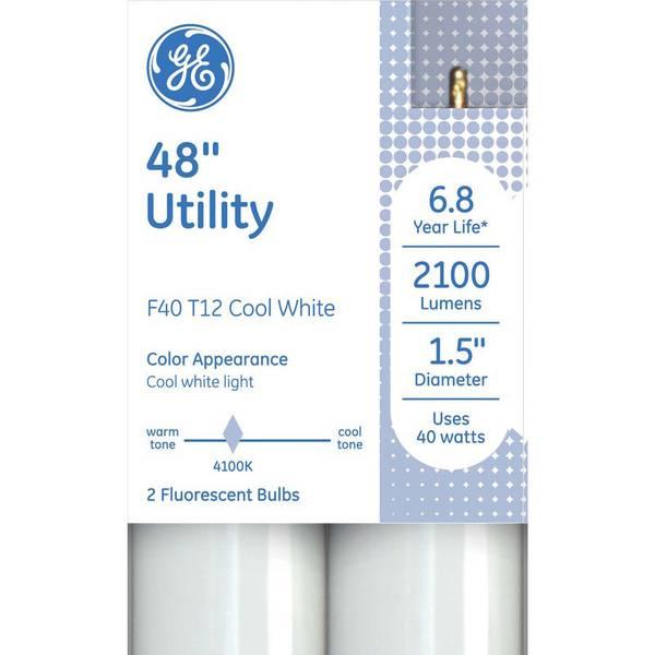 """Photo of 2-Pack 48"""" 40-Watt Cool White T12 Utility Light Bulbs"""