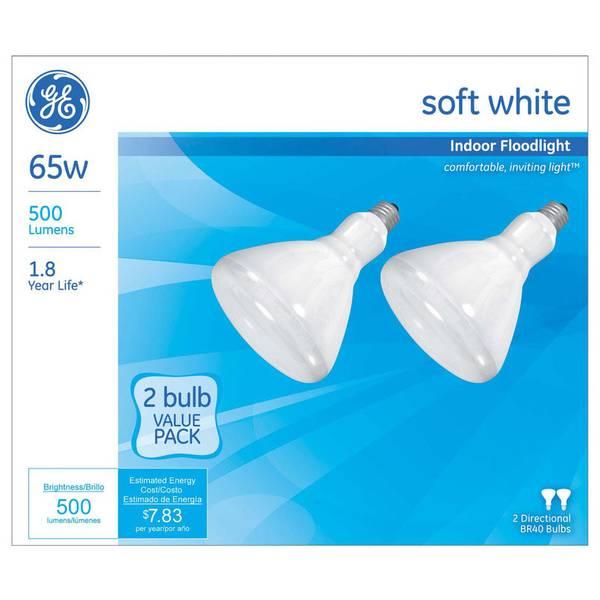 2pk 65W BR40 Soft White Floodlights