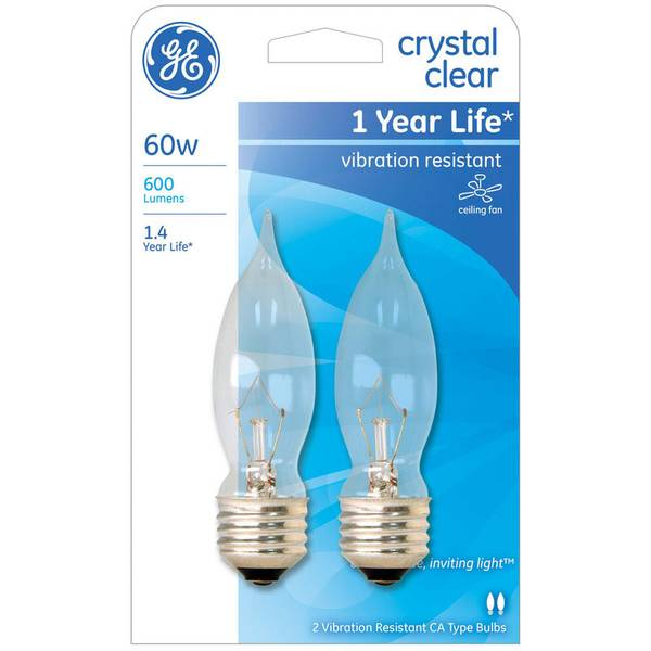 2pk 60W CA9 Crystal Clear Bulbs