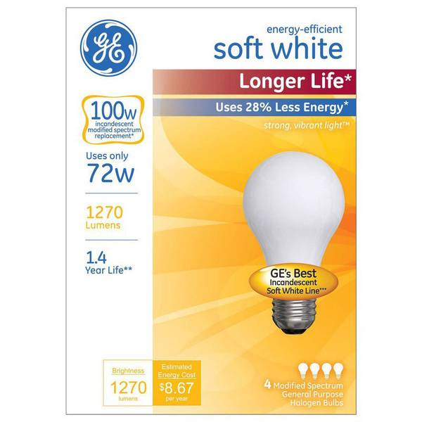 4 Pack 72W Longer Life Soft White Bulbs