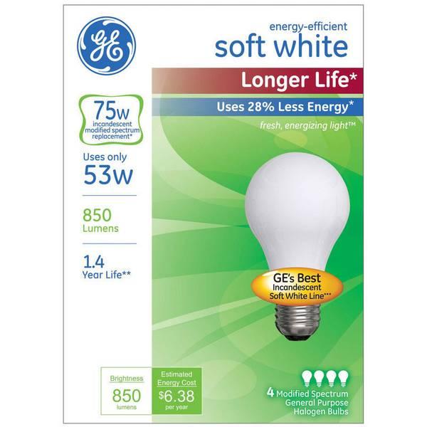 4 Pack 53W Longer Life Soft White Bulbs