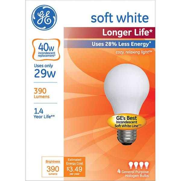 4 Pack 29 Watts Longer Life Soft White Bulbs