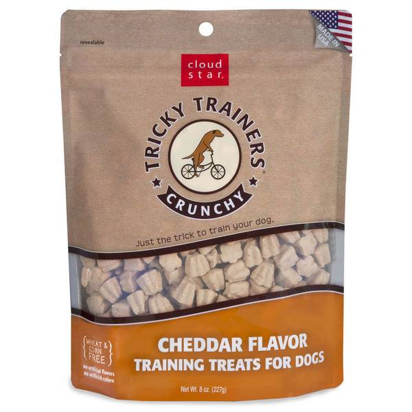 8 oz Tricky Trainers Crunchy Dog Cheddar Training Treats