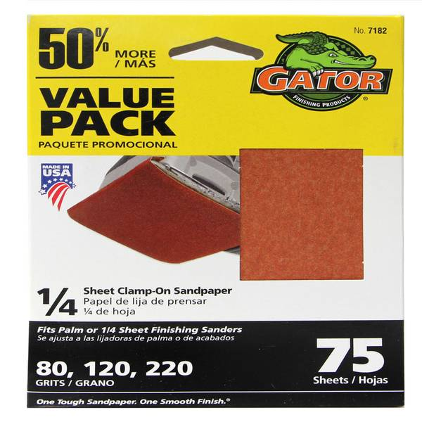 1/4 Sheet Assorted Clamp - On Sandpaper Value Pack