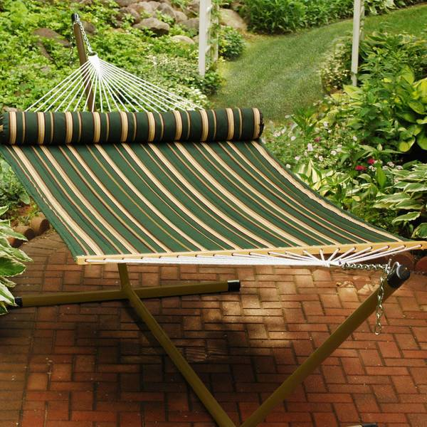 Green Striped Quilted Hammock with Pillow