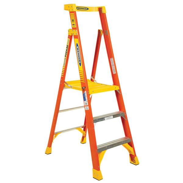 Werner Fiberglass 3 Podium Ladder