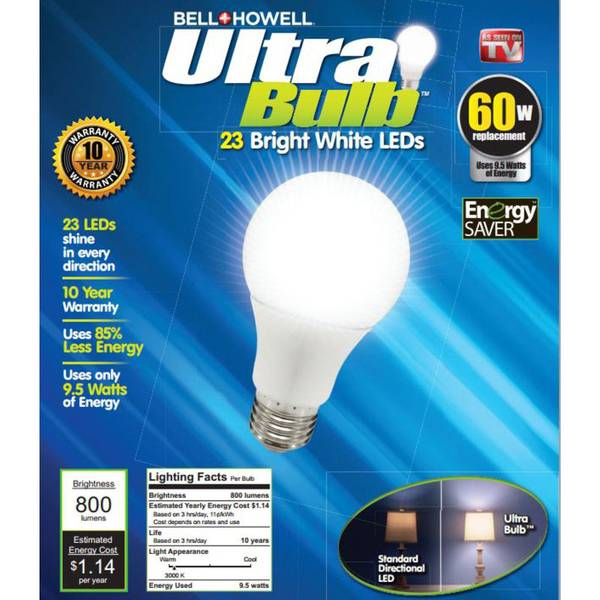 Wall Light Bulb As Seen On Tv : As Seen On TV Bell + Howell 60 Watt Ultra Bright White LED Light Bulb