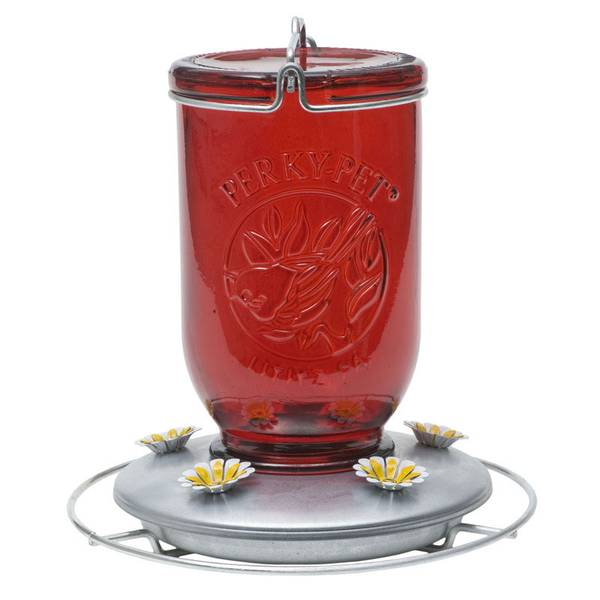 Vintage Mason Jar Red Glass Hummingbird Feeder