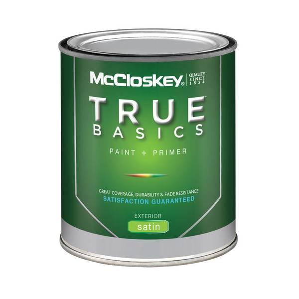 mccloskey true basics exterior satin white paint primer. Black Bedroom Furniture Sets. Home Design Ideas