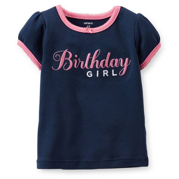 Infant Girl's Navy & Pink Birthday Girl's Embroidery T-Shirt