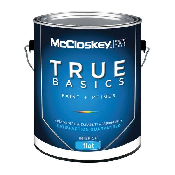 Mccloskey true basics interior flat white paint primer for Best interior paint and primer in one