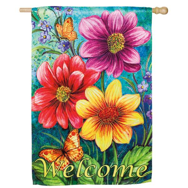 House Suede Summer Flowers Flag
