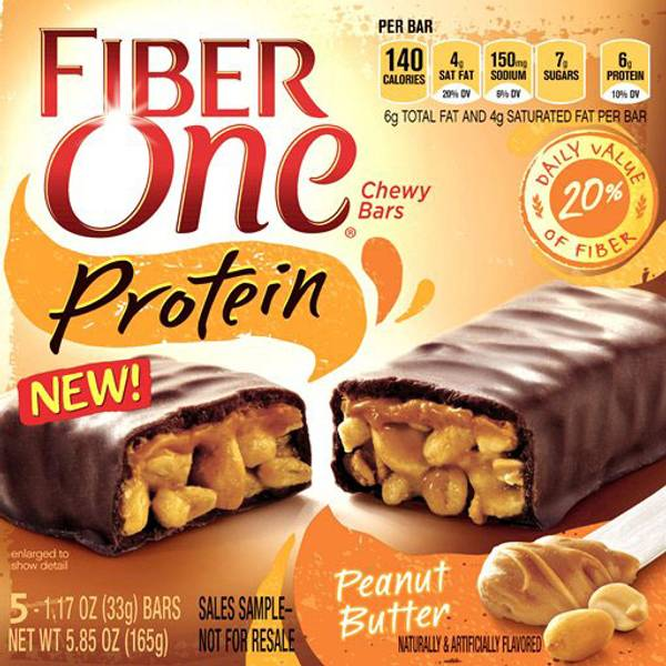 GMI FIBER ONE PROTEIN BAR 5 Piece Peanut Butter Chewy Bars, 5.85 oz