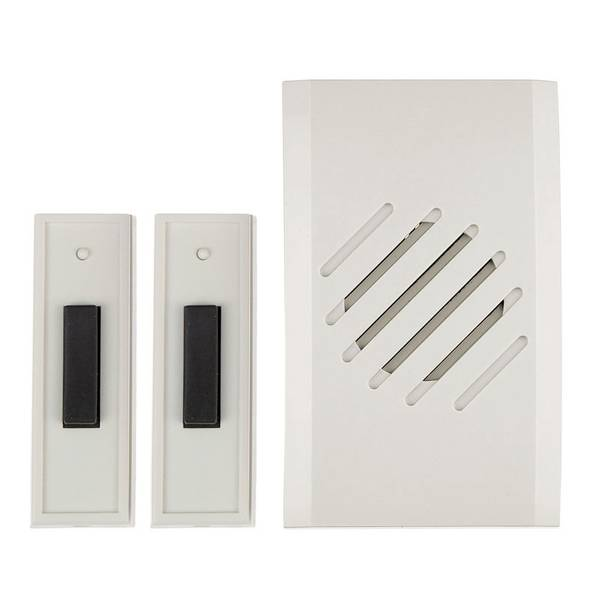 White Two Button Wireless Plug-In Chime