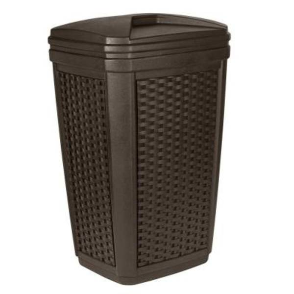 suncast brown 30 gallon wicker outdoor trash can. Black Bedroom Furniture Sets. Home Design Ideas