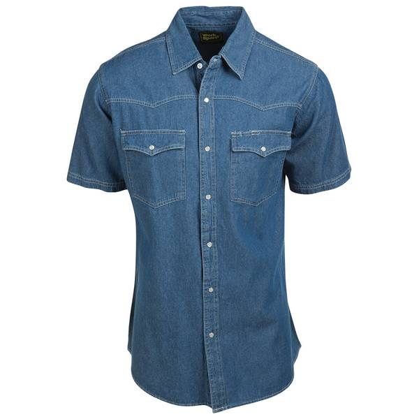 Men's Short Sleeve Dark Wash Denim Western Shirt