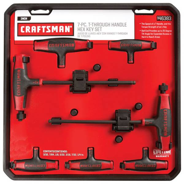 Craftsman 7 Piece T Handle Ball End Hex Key Set Sae 0 09