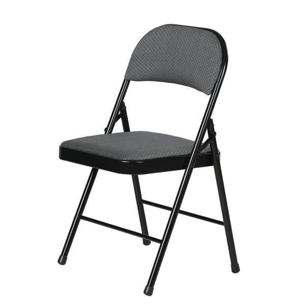 Gray Fabric Padded Folding Chair