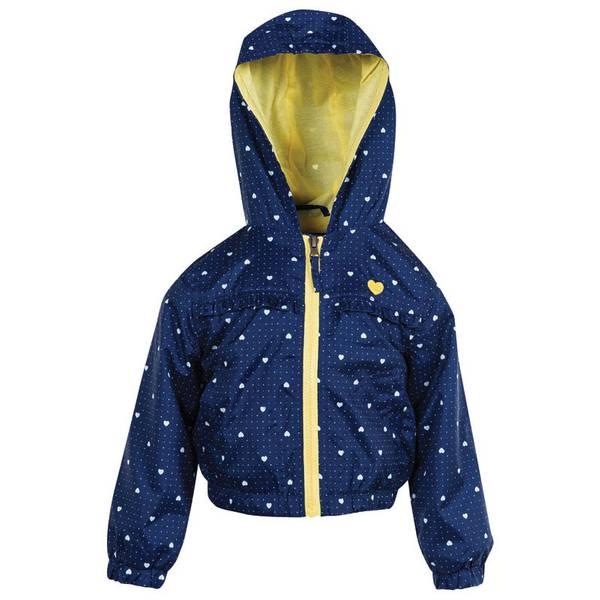 Infant Girl's Navy Heart Ruffle Jacket