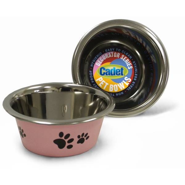 1 Pint Cadet Pink Paws Stainless Steel Pet Bowl