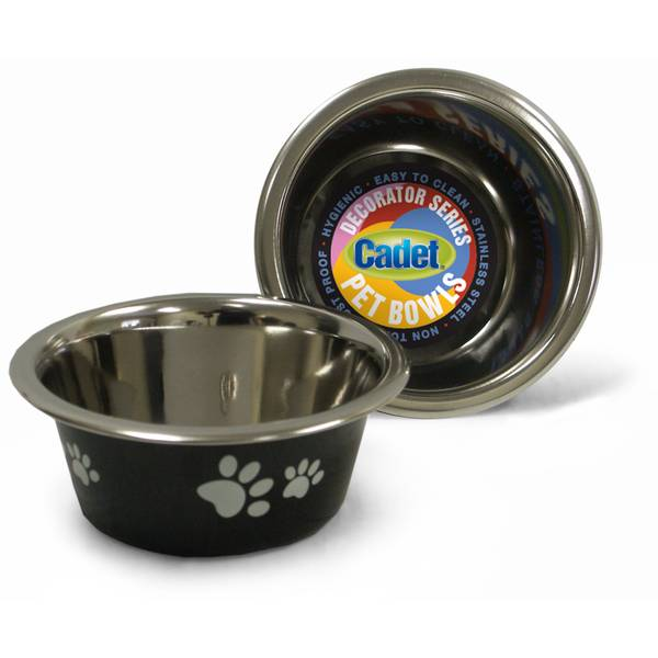 1 Pint Cadet Black Paws Stainless Steel Pet Bowl