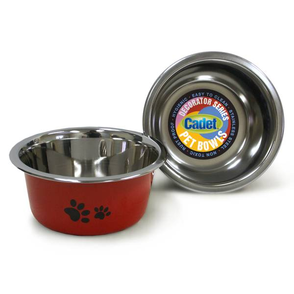 1 Quart Cadet Red Paws Stainless Steel Pet Bowl Assortment