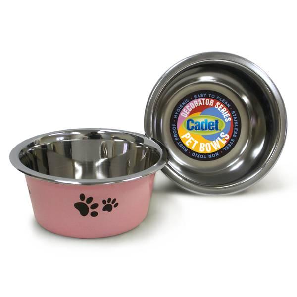 1 Quart Cadet Pink Paws Stainless Steel Pet Bowl Assortment