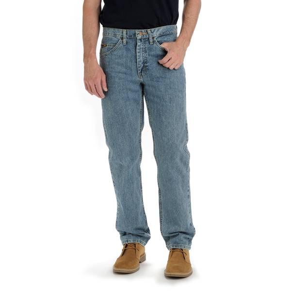 Rustler By Wrangler Men/'s Relaxed Fit Straight Leg Blue Heavyweight Denim Jeans