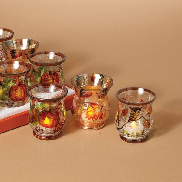 Hand Painted Crackle Glass Harvest Hurricane Candle Holder Assortment