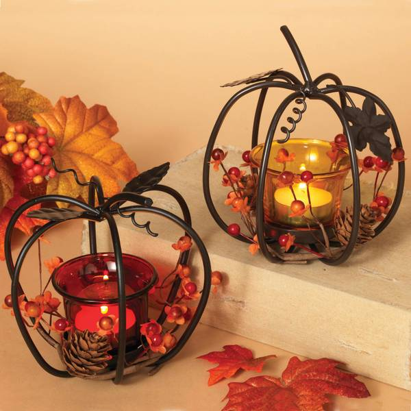 Metal Pumpkin with Glass Candle Holder Assortment