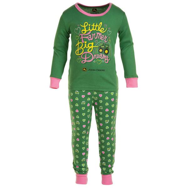 Infant Girl's Green Little Farmer Pajama Set