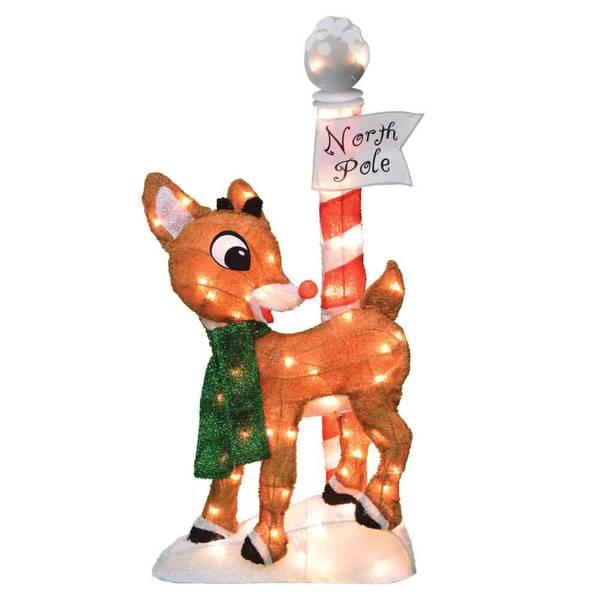 2D Pre-Lit Rudolph North Pole