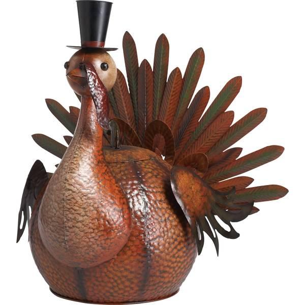 Metal Harvest Turkey Figurine