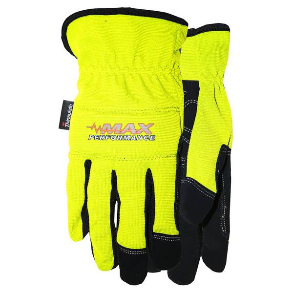 Men's High Visibility  Leather Palm Spandex Gloves