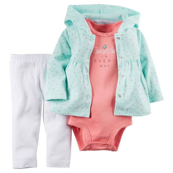 Baby Girl's Floral Hooded Cardigan Set