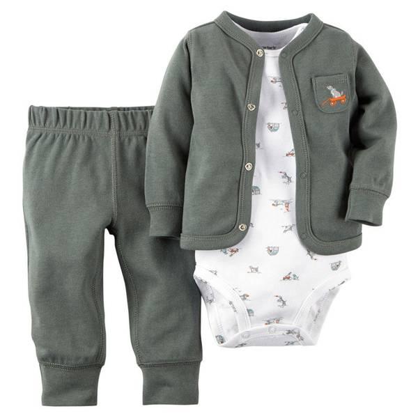 Baby Boy's Olive Cardigan Set