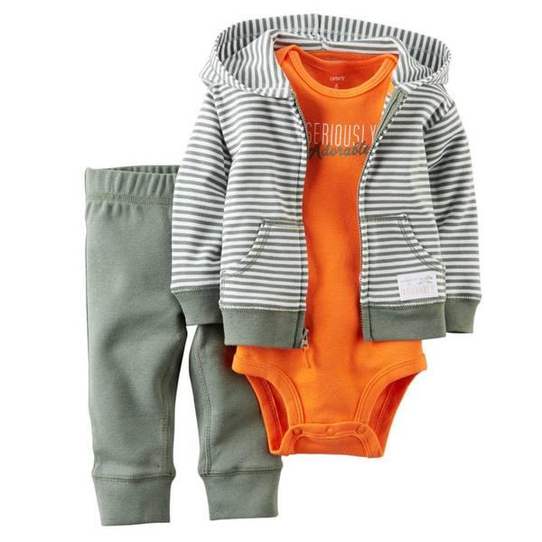 Baby Boy's Olive Stripe Hooded Cardigan Set