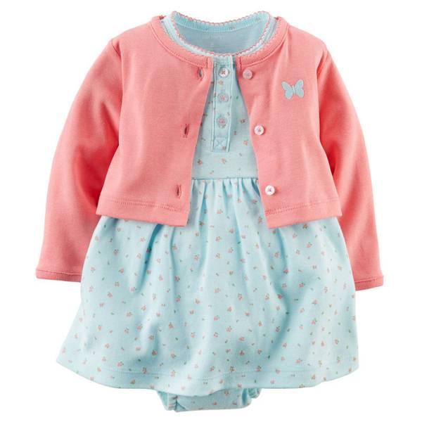 Baby Girl's Blue Floral Dress & Cardigan Set