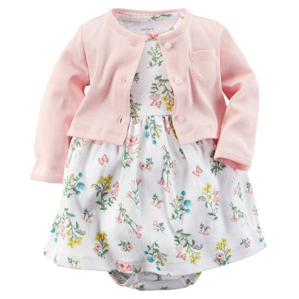 Baby Girl's Pink & Ivory Floral Dress & Cardigan Set