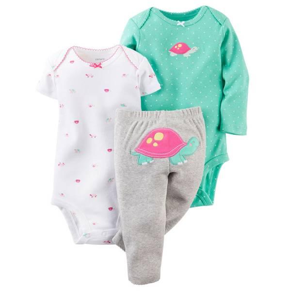 Baby Girl's Turtle Bodysuit & Pant Set