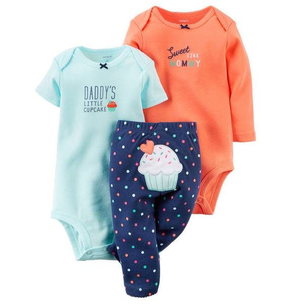 Baby Girl's Multi-Colored Cupcake Bodysuit & Pant Set