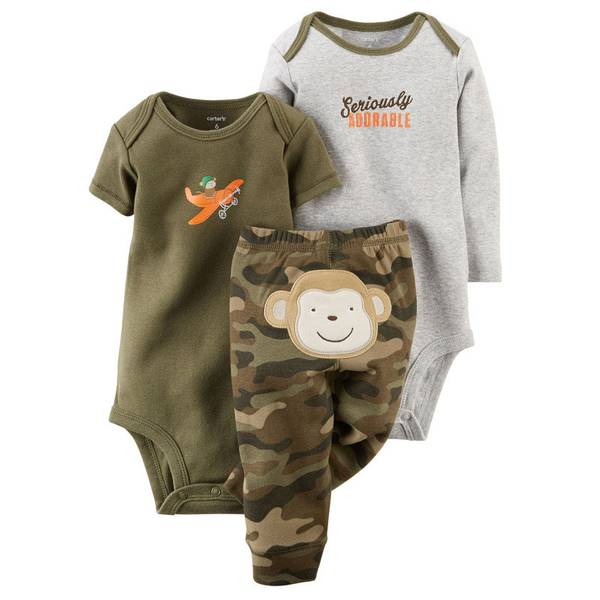 Infant Boy's Camo Husky Bodysuit & Pant Set