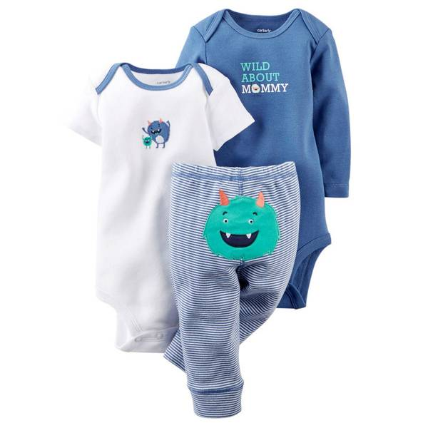 Baby Boy's Multi-colored 3-Piece Monster Bodysuit & Pant Set