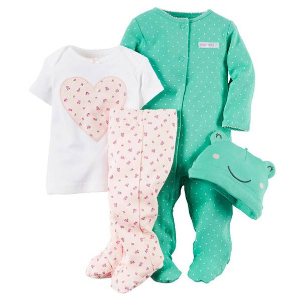 Baby Girl's Multi-colored 4-Piece Take Home Set
