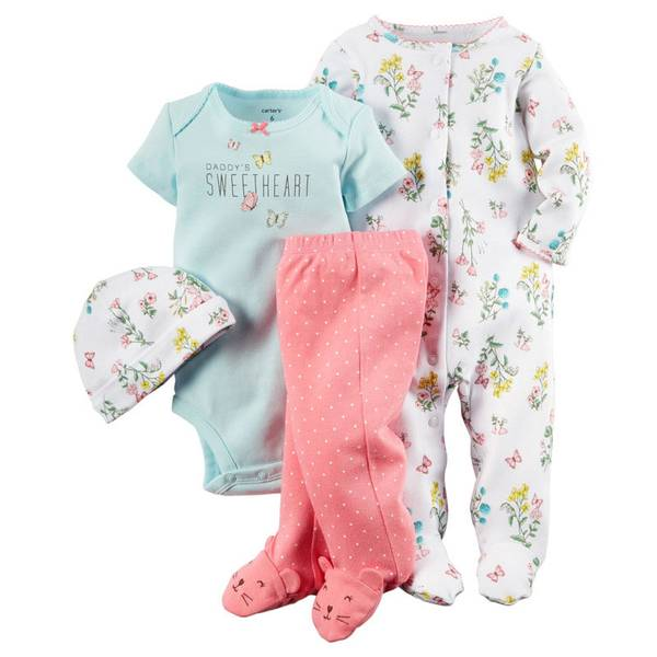 Baby Girl's Multi-colored Floral 4-Piece Take Home Set
