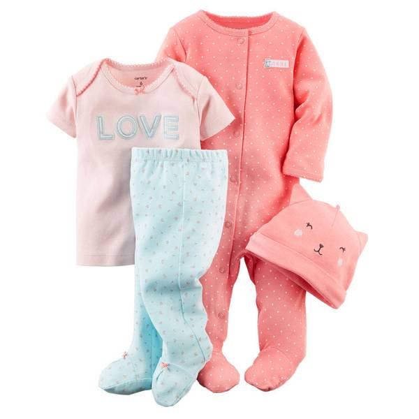 Baby Girl's Pink & Blue 4-Piece Take-Me-Home Set