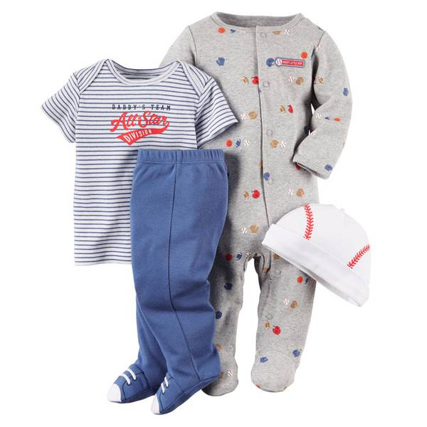 Baby Boy's Multi-colored Baseball Layette 4-Piece Take Home Set